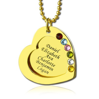Heart Birthstones Necklace For Mother In Gold  - Crafted By Birthstone Design™