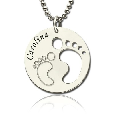 Baby Footprint Name Pendant Sterling Silver - Crafted By Birthstone Design™