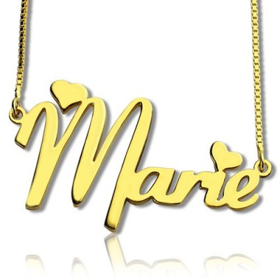 Personalised Nameplate Necklace for Girls 18ct Gold Plated - Crafted By Birthstone Design™