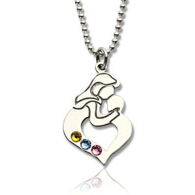 Personalised Mother Child Necklace with Birthstone Silver  - Crafted By Birthstone Design™