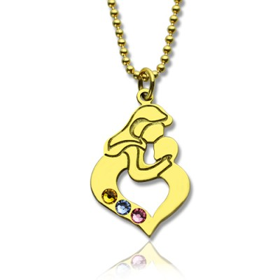 Personalised Mother Child Necklace with Birthstone Gold Plated Silver  - Crafted By Birthstone Design™