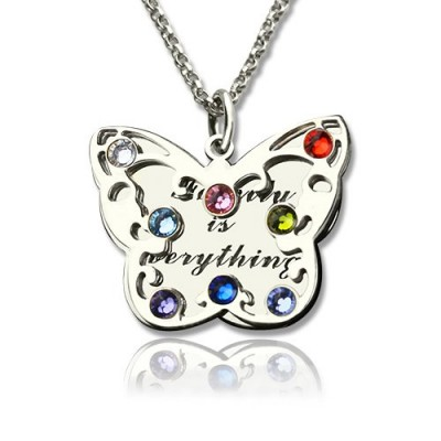 Personalised Birthstone Butterfly Necklace Sterling Silver  - Crafted By Birthstone Design™