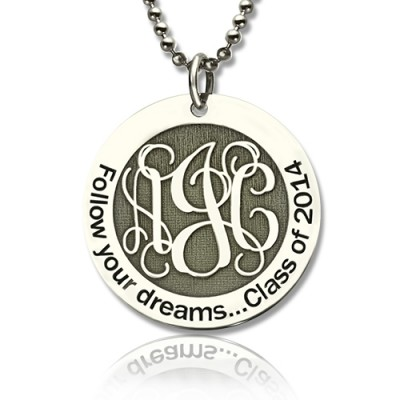 Personalised Class Graduation Monogram Necklace Sterling Silver - Crafted By Birthstone Design™