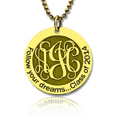 Follow Your Dreams Disc Monogram Necklace 18ct Gold Plated - Crafted By Birthstone Design™