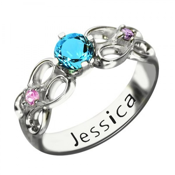 Customised Infinity Promise Ring With Name  Birthstone for Her Silver  - Crafted By Birthstone Design™