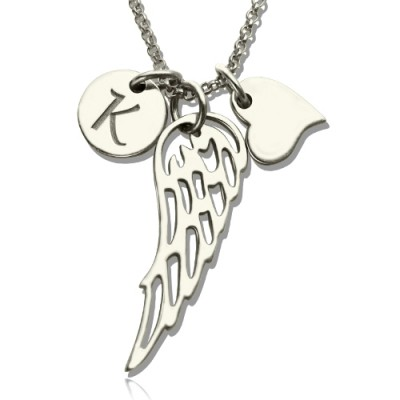 Girls Angel Wing Necklace Gifts With Heart  Initial Charm - Crafted By Birthstone Design™