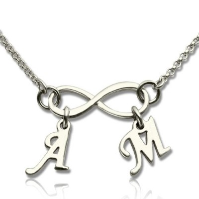 Personalised Infinity Necklace Double Initials Sterling Silver - Crafted By Birthstone Design™