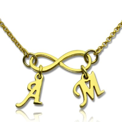 Infinity Pendant Double Initial 18ct Gold Plated - Crafted By Birthstone Design™