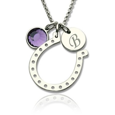 Horseshoe Good Luck Necklace with Initial  Birthstone Charm  - Crafted By Birthstone Design™
