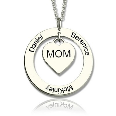 Family Names Necklace For Mom Sterling Silver - Crafted By Birthstone Design™