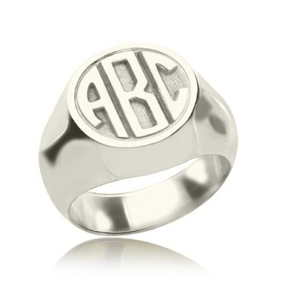 Personalised Signet Ring with Block Monogram Sterling Silver - Crafted By Birthstone Design™