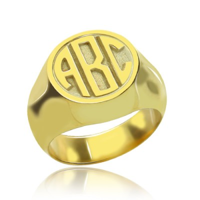 Customised Signet Ring with Block Monogram 18ct Gold Plated - Crafted By Birthstone Design™