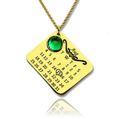 Birth Day Gifts - Birthday Calendar Necklace 18ct Gold Plated - Crafted By Birthstone Design™
