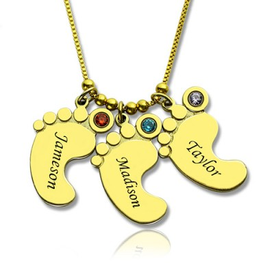 Mother Pendant Baby Feet Necklace 18ct Gold Plated - Crafted By Birthstone Design™