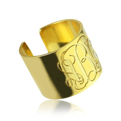 Script Monogram Cuff Ring Gifts 18ct Gold Plated - Crafted By Birthstone Design™