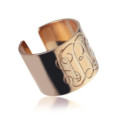 Engraved Monogram Cuff Ring Rose Gold - Crafted By Birthstone Design™