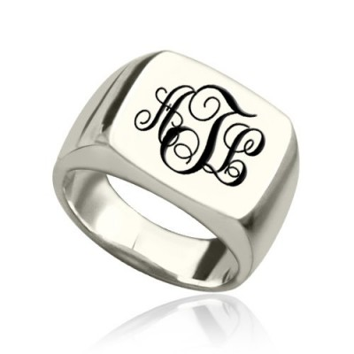 Personalised Signet Ring Sterling Silver with Monogram - Crafted By Birthstone Design™