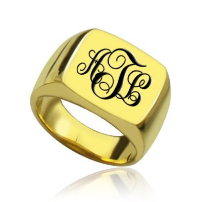 Custom 18ct Gold Plated Monogram Signet Ring - Crafted By Birthstone Design™