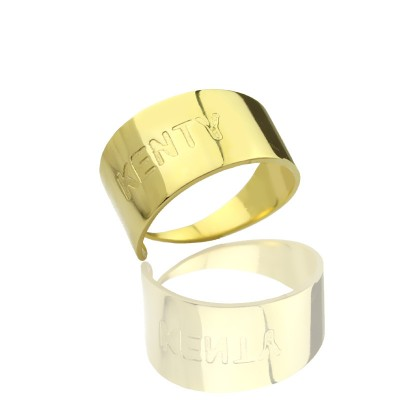18ct Gold Plated Name Engraved Cuff Rings - Crafted By Birthstone Design™