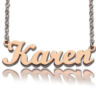 18ct Rose Gold Plated Karen Style Name Necklace - Crafted By Birthstone Design™