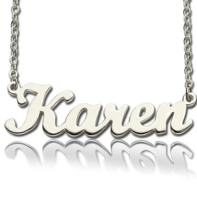Solid 18ct White Gold Plated Karen Style Name Necklace - Crafted By Birthstone Design™