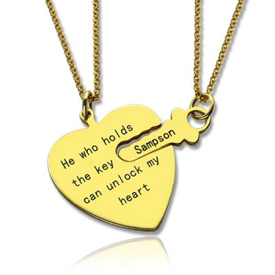 He Who Holds the Key Couple Necklaces Set 18ct Gold Plated - Crafted By Birthstone Design™