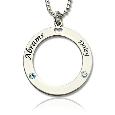 Engraved Circle of Love Name Necklace with Birthstone Silver  - Crafted By Birthstone Design™