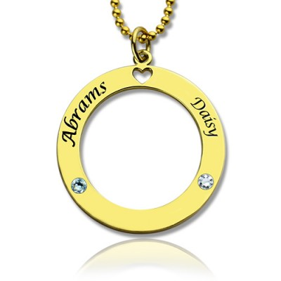 Circle of Love Name Necklace with Birthstone 18ct Gold Plated Silver  - Crafted By Birthstone Design™