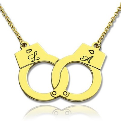 Personalised Handcuff Necklace 18ct Gold Plated - Crafted By Birthstone Design™