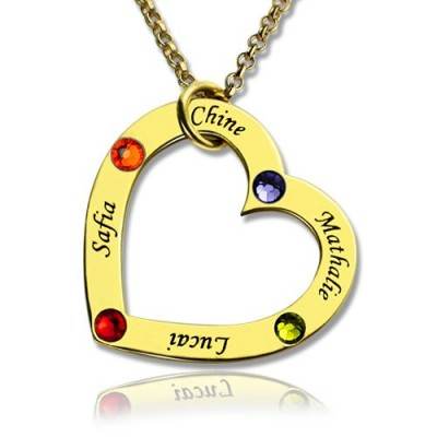 Gold Plated Birthstone Heart Necklace For Mother  - Crafted By Birthstone Design™