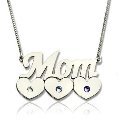 Mother Necklace With Children Birthstone Silver  - Crafted By Birthstone Design™