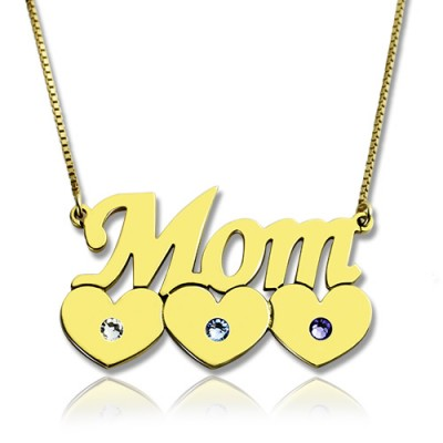 Moms Necklace With Children Birthstone In 18ct Gold Plated  - Crafted By Birthstone Design™