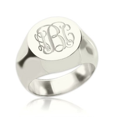Signet Ring Sterling Silver Engraved Monogram - Crafted By Birthstone Design™