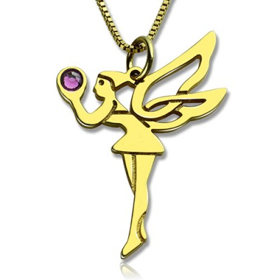 Fairy Birthstone Necklace for Girlfriend 18ct Gold Plated Silver 925  - Crafted By Birthstone Design™