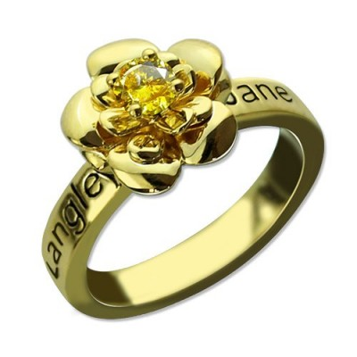 Promise Rose Ring for Her with Birthstone 18ct Gold Plated  - Crafted By Birthstone Design™