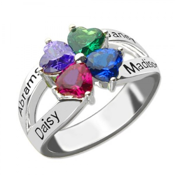 Personalised Mothers Name Ring with Birthstone Sterling Silver  - Crafted By Birthstone Design™