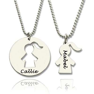 Mother Daughter Necklace Set Engraved Name Sterling Silver - Crafted By Birthstone Design™