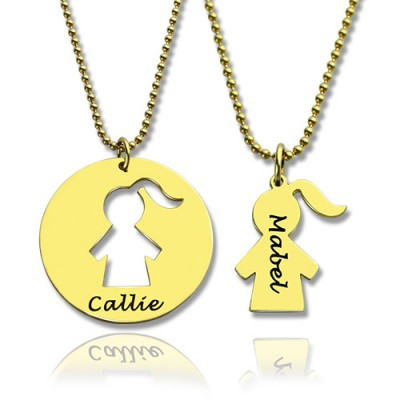 Mother and Child Necklace Set with Name 18ct Gold Plated - Crafted By Birthstone Design™