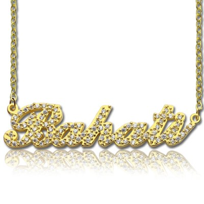 18ct Gold Plated Full Birthstone Carrie Name Necklace  - Crafted By Birthstone Design™
