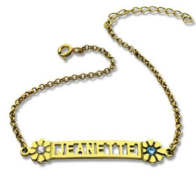 Personalised Birthstone Name Bracelet for Her 18ct Gold Plated  - Crafted By Birthstone Design™