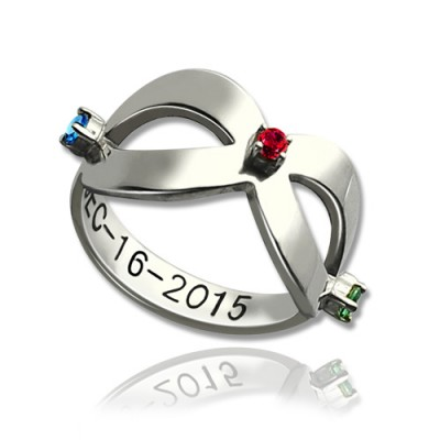 Infinity Birthstones Ring Engraved Date Sterling Silver  - Crafted By Birthstone Design™