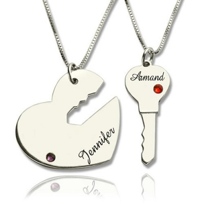 Key to My Heart Name Pendant Set For Couple - Crafted By Birthstone Design™