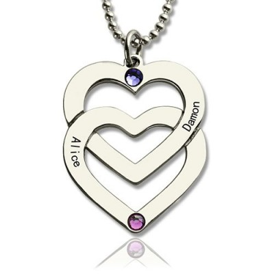 Personalised Double Heart Necklace Engraved Name Sterling Silver - Crafted By Birthstone Design™