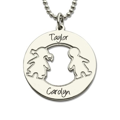 Circle Necklace With Engraved Children Name Charms Sterling Silver - Crafted By Birthstone Design™