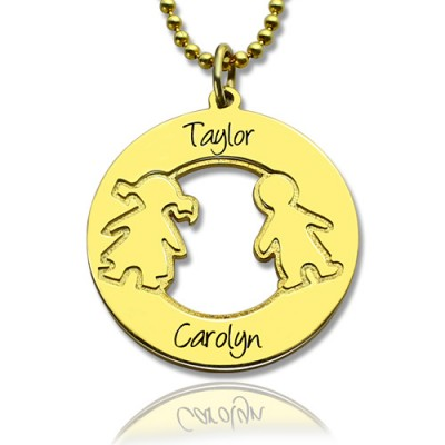 Circle Necklace Engraved Children Name Charms 18ct Gold Plated Silver925 - Crafted By Birthstone Design™