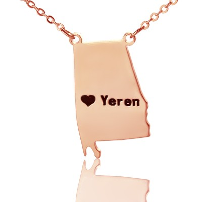 Custom Alabama State USA Map Necklace With Heart  Name Rose Gold - Crafted By Birthstone Design™