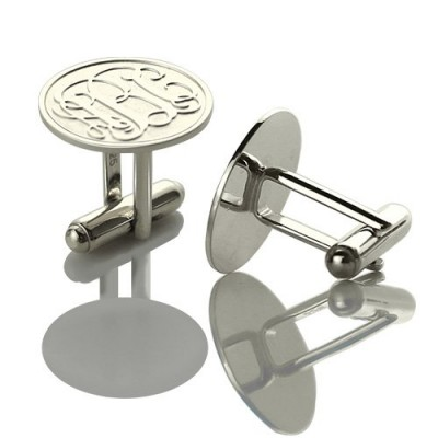 Engraved Cufflinks with Monogram Sterling Silver - Crafted By Birthstone Design™