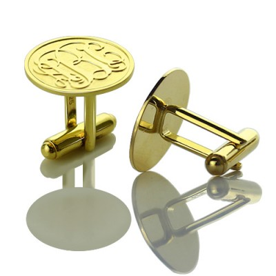 Engraved Cufflinks with Monogram 18ct Gold Plated - Crafted By Birthstone Design™