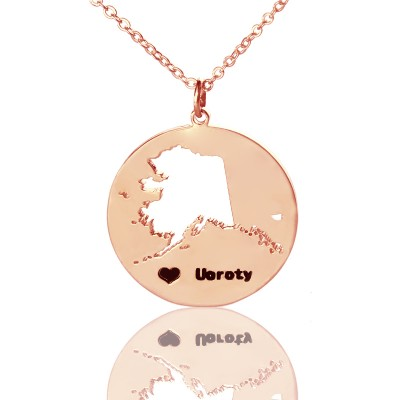 Custom Alaska Disc State Necklaces With Heart  Name Rose Gold - Crafted By Birthstone Design™