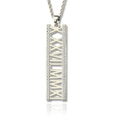 Roman Numeral Vertical Necklace With Birthstones Sterling Silver  - Crafted By Birthstone Design™
